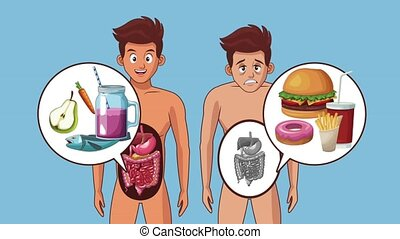Young man and digestive system with healthy and fast food high definition animation colorful scenes