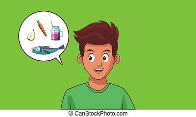 Young man talking about healthy and fast food cartoon high definition animation colorful scenes