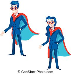 man and girl super heroes in a business firm