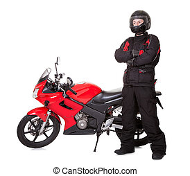 Young man and his motorbike