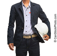 young man and safety helmet isolate