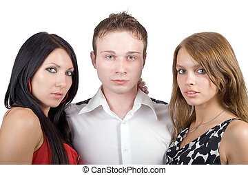 young man and two beauty young women
