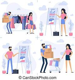 Young man and woman at shopping.
