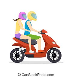 Young man and woman couple riding on scooter