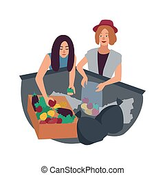Young man and woman delving in waste container and picking fruits. Pair of male and female freegans searching for food in trash bin. Freeganism or dumpster diving. Flat cartoon vector illustration.