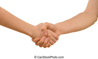 Young man and woman with bare arms shaking hands clasping each other tightly, closeup view of the handshake isolated on white