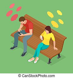 Young man and woman sitting on the bench and send SMS. Communication via the Internet, typing text message via cellphone, social networking concept. Flat 3d isometric illustration