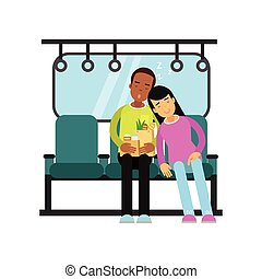 Young man and woman sleeping in the train cartoon vector illustration