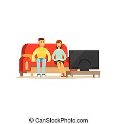 Young man and woman watching tv, people sitting on a sofa in a living room in front of the television screen vector Illustration
