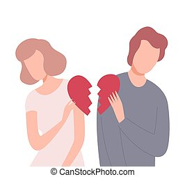 Young Man and Woman with Broken Heart, People Trying to Save Love and Friendship Flat Vector Illustration