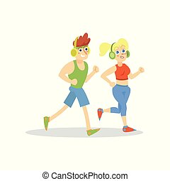 Young man and woman with headphones running in sportswear, active healthy lifestyle cartoon vector Illustration