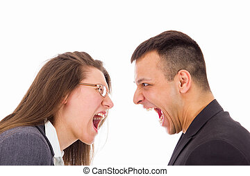 man and woman with love problems yelling at each other