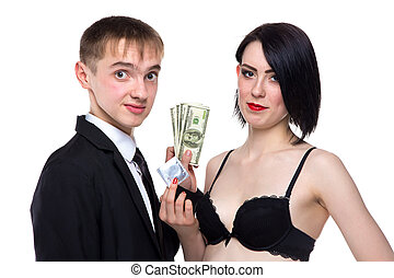 Young man and woman with money