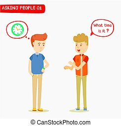 Young man ask the time to his friend, Two man talking about the time, What time is it ?, Hand gestures, Message Box, Mindset box, Man waiting for time, engage, ask for help, Casual guy character