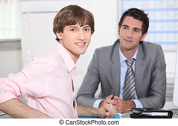 Young man at a job interview