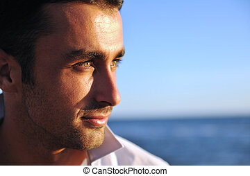 young man at beach