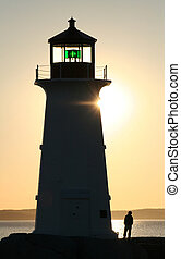 Young man at Lighthouse - A silhouette of a young man...
