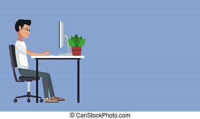 Young man at office cartoon HD animation