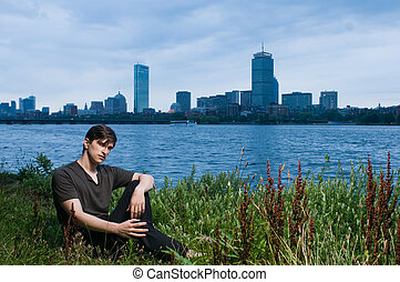 Young man at river