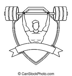 young man athlete weight lifting