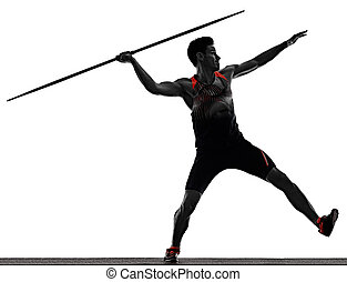 young man athletics Javelin athlete isolated white ...