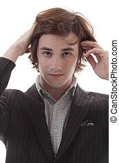 Young Man Bad Hair Day