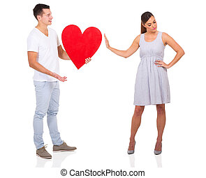 young man been rejected by a girl isolated on white