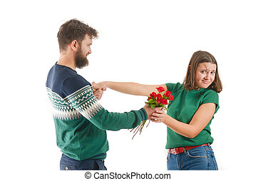 young man been rejected by a young woman on velentine's day