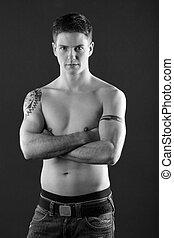 young man Body portrait BW