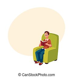 Young man, boy reading book sitting comfortably in armchair