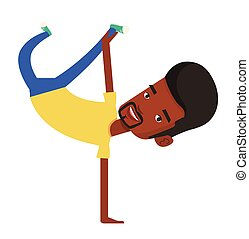 Young man breakdancing vector illustration. -...