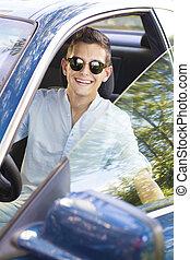 young man car