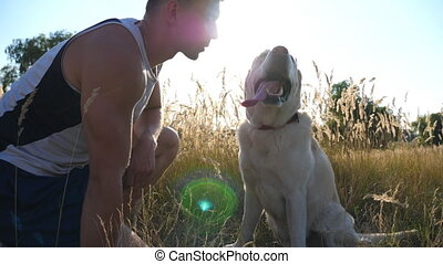 Young man caress, hugging and kissing his labrador outdoor at nature. Playing with golden retriever. Dog licking male face. Love and friendship with domestic animal. Sunrays in background. Slow motion