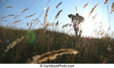 Young man carrying on hands his dog by field. Playing with labrador or golden retriever at nature. Love and friendship with domestic animal. Close up Slow motion