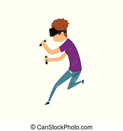 Young man cartoon character in virtual reality headset holding controllers and running, full virtual reality concept vector Illustration on a white background