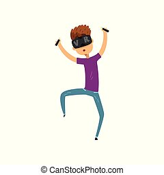 Young man cartoon character in virtual reality headset holding controllers, gaming cyber technology, virtual reality concept vector Illustration on a white background