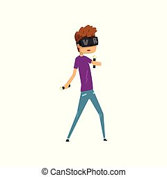 Young man cartoon character using virtual reality goggles holding controllers, full virtual reality concept vector Illustration on a white background