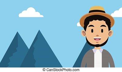 Young man cartoon HD animation