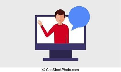 young man cartoon waving hand on monitor computer