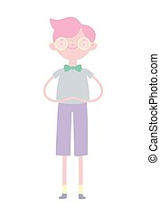 young man character cartoon with bowtie