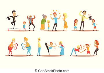 Young man character juggling with orange balls before happy people. Circus or street actor colorful cartoon detailed vector Illustration