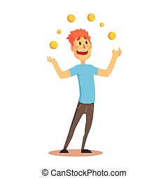 Young man character juggling with orange balls, circus or ...