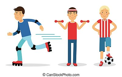 Young Man Characters Doing Sport Vector Illustration Set