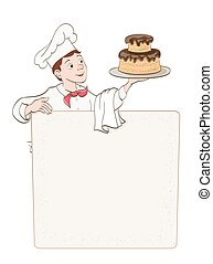 young man chef with cake and menu place on white. vector