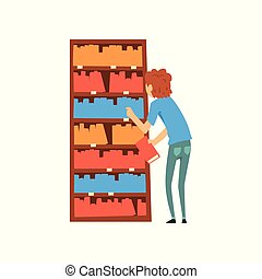 Young man choosing books in bookstore cartoon vector Illustration on a white background