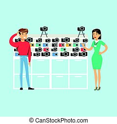 Young man choosing camera with shop assistant help in appliance store colorful vector Illustration