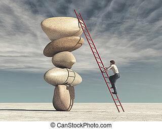Young man climb a ladder