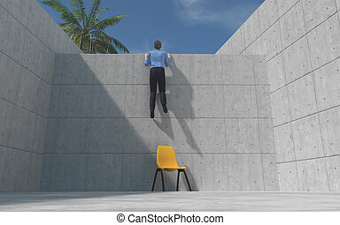 Young man climbed a concrete wal
