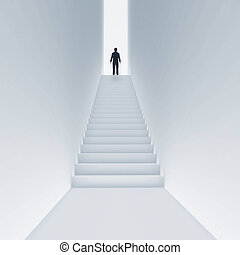 Young man climbing stairs to the sky