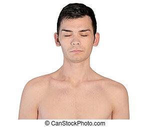 Young man closed eyes